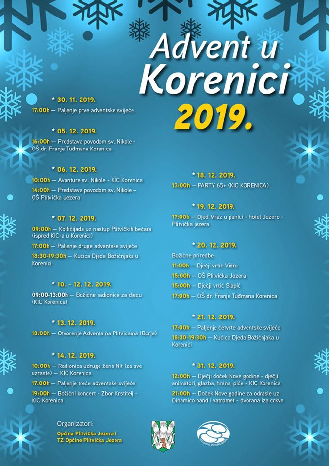 Advent u Korenici 2019 raspored