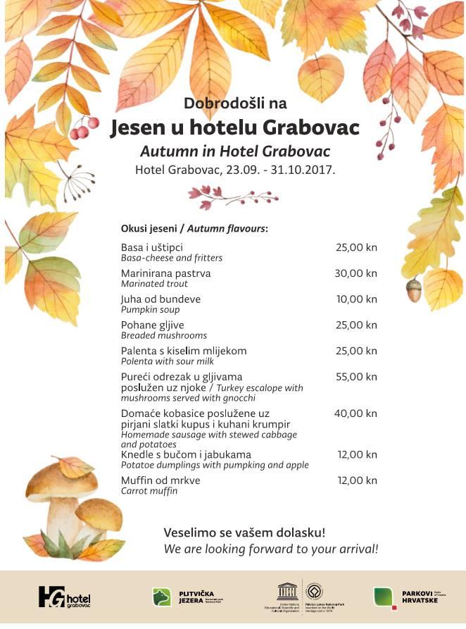 Jesen u hotelu Grabovac meni